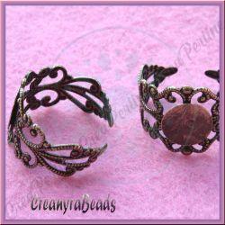 Base per anello fascia filigranata con piastra 8 mm colore bronzo verde