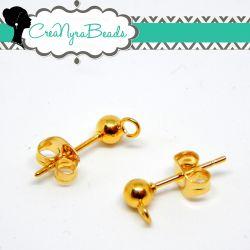 1 Paio perno pallina Ø 4 mm per orecchino in acciaio dorato  con retro