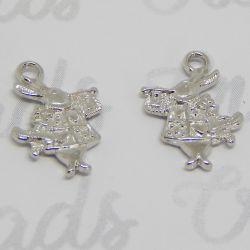 10 Pz Ciondolo Bianconiglio tono argento antico  20x15 mm 3d