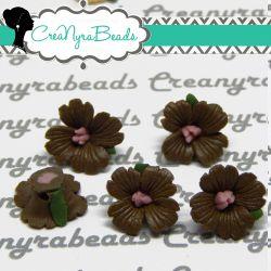 Perla Fiore in Ceramica satinata Cioccolato fatte a mano 12mm