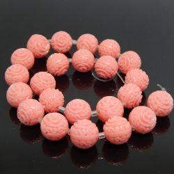 Perla Sfera in resina 14mm  intagliata rilievo Rosa colore Rosa