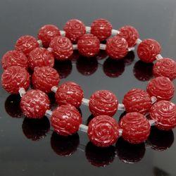 Perla Sfera in resina 14mm  intagliata rilievo Rosa colore rosso
