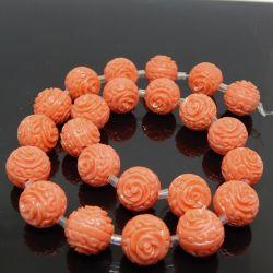 Perla Sfera in resina 14mm  intagliata rilievo Rosa tono Arancio corallo