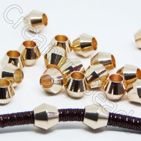 5 Pz Distanziatore Bicono in Acciaio inossidabile dorato 8x7 mm for 4 mm