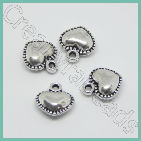 10 pz Ciondolo cuore punzonato Cicciottoso in metallo argento antico 14x13mm