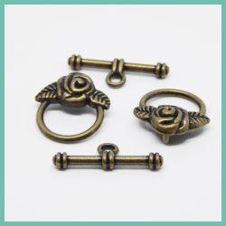 4 Pz Chiusura a T Rosa in metallo bronzo verde