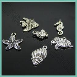 Set 6 Pz ciondolo Tema Creature Marine in metallo tono argento antico
