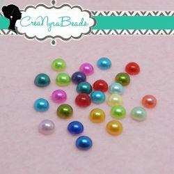 100 Pz mezze perle sintetiche  in acrilico mix color 6 mm