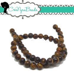 1 Filo 48 Pz Perle in pietra dura Occhio di Tigre