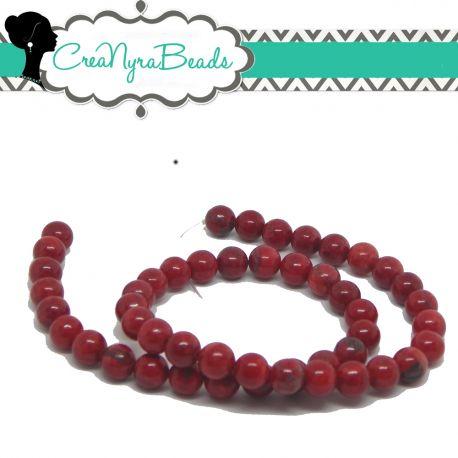 1 Filo 48 Pz Perle in pietra dura Howlite Rossa