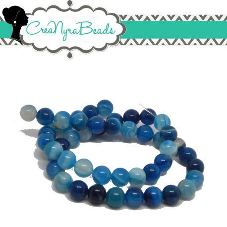 1 Filo 48 Pz Perle in pietra dura Agata Striata Blu