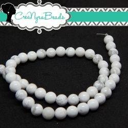 1 Filo 48 Pz Perle in pietra dura Howlite Bianco