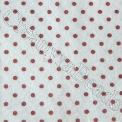 Foglio Pannolenci Bianco 30x40 da 1 mm pois Rosso Marianne Hobby