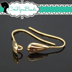 1 Paio Base per Orecchino Monachella in ottone Conchiglia tono oro