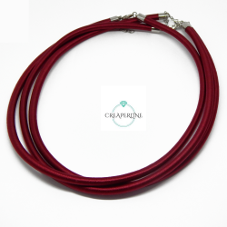 Base per Catenina Cordone Tono Bordeaux da 46 cm in gomma 5 mm rivestita filo