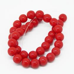 1 Filo Perla in vetro tono rosso 8 mm colore pieno imitazione giada