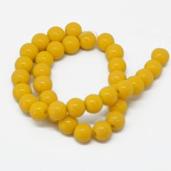 1 Filo Perla in vetro tono Giallo 8 mm colore pieno imitazione giada  +/- 36pz