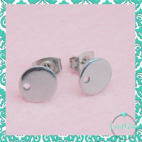 1 Paio Perno per orecchini Piastra tonda in acciaio inossidabile + retro