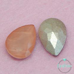 2 Pz Goccia 13x18mm  in vetro sfaccettato Pesca opal