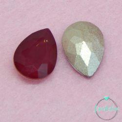 2 Pz Goccia 13x18mm  in vetro sfaccettato Rosso bordeaux opal