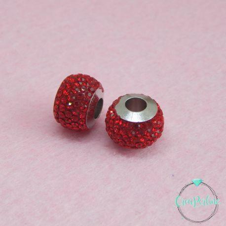 Perla foro largo pavè strass Rosso 13x10mm in acciaio inossidabile