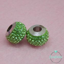 Perla foro largo pavè strass Verde 13x10mm in acciaio inossidabile