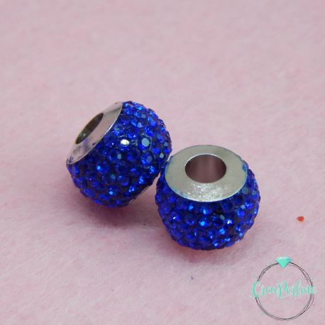 Perla foro largo pavè strass Blu 13x10mm in acciaio inossidabile