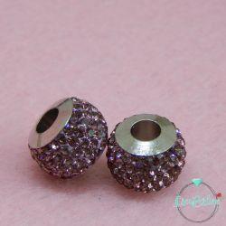 Perla foro largo pavè strass Rosa/lilla 13x10mm in acciaio inossidabile