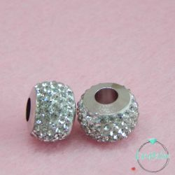 Perla foro largo pavè strass Crystal 13x10mm in acciaio inossidabile