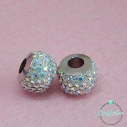 Perla foro largo pavè strass Crystal ab 13x10mm in acciaio inossidabile