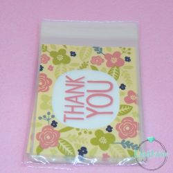 10 Pz Sacchetto regalo cellophane Fiori Thank you  16x10 cm