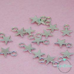 30 Pz Charms ciondolo Mini  Stella  in metallo argentato 11x8 mm