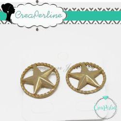 1 Paio Perno in Zama per orecchini Tono oro Etrusco Medaglia Stella