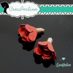 Nappina Fiore in  Alcantara tono rosso base dorata
