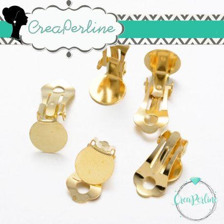2 Paia Base orecchini piastra clip in ottone 10mm tono oro