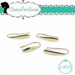 2 Paia Base orecchini Monachelle Lacrima in ottone tono light oro