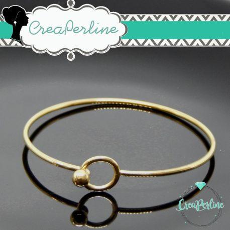 Bangle  base bracciale apribile Cerchio  diametro 6,5 cm in acciaio inossidabile tono oro