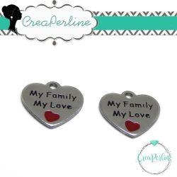 Ciondolo Charms Cuore My family My love 16mm  in acciaio inossidabile