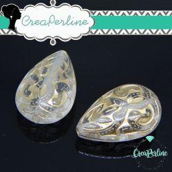 2 Pz Perla Goccia in resina Trasparente  Oro  Barocco 26x18 mm