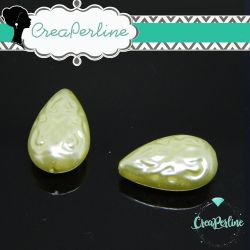 2 Pz Perla Goccia in resina imitazione perla Verde chiaro Barocco 18x12x8mm