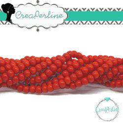 1 Filo Perla in vetro tono Rosso Chiaro 4 mm  imitazione giada  +/- 72pz
