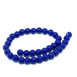 1 Filo Perla in vetro tono Royal Blu 8 mm colore pieno imitazione giada  +/- 36pz