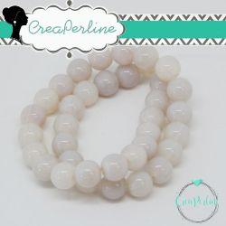 1 Filo Perla in vetro tono Bianco Grezzo 6 mm colore pieno imitazione giada  +/- 50pz
