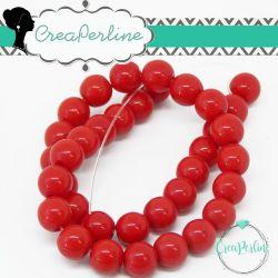 1 Filo Perla in vetro tono rosso 6 mm colore pieno imitazione giada  +/- 50pz