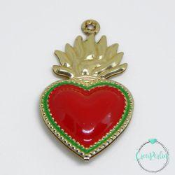 Ciondolo Cuore Sacro in Ottone tono Oro / smaltato Rosso 40x22mm 3d