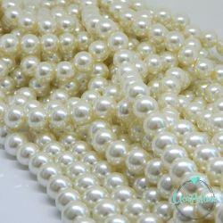 10  Pz  perla in vetro cerato 14 mm panna perlato