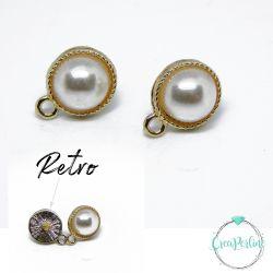 1 Paio Base Orecchini Perno Mezza perla Panna tono oro in Lega di Zinco