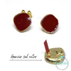 1 Paio Base Perno per orecchini Geometrico irregolare smaltato rosso tono oro + retro