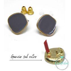1 Paio Base Perno per orecchini Geometrico irregolare smaltato Grigio tono oro + retro