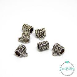6 Pz Perla Gancio porta pendente in metallo tono antico 11x8,5x5mm